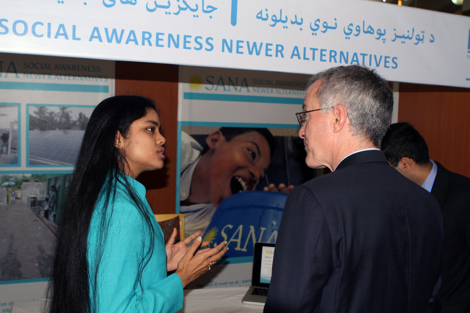 USAID Mission Director William Hammink talking with Indian delegation in India-Afghanistan Innovation Partnership Fair in Kabul