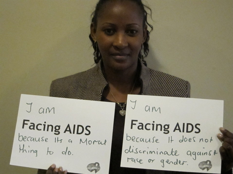 I am Facing AIDS because it's a moral thing to do. I am facing AIDS because it does not discrimiate against race or gender.