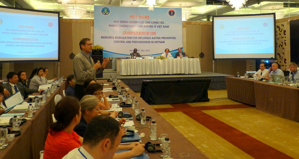 Dr. Tim Meinke, USAID, speaks at the Conference on Resource Mobilization for Influenza A (H7N9) Prevention, Control and Preparedness in Vietnam