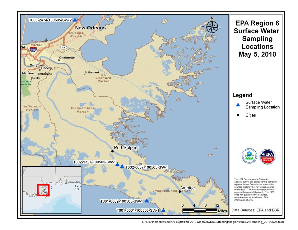 EPA Water Sampling Locations May 5, 2010