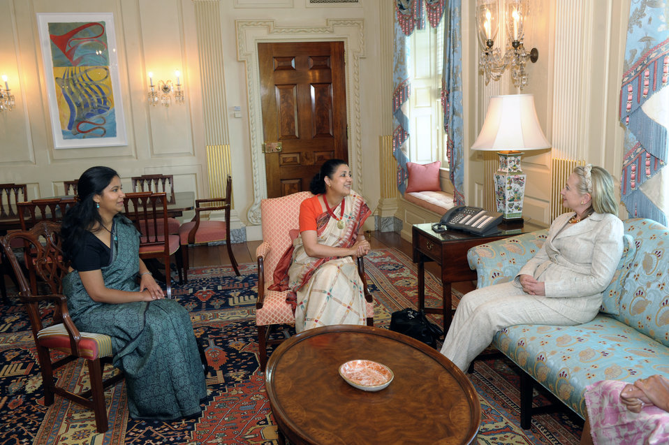 Secretary Clinton Meets With Indian Ambassador Shankar