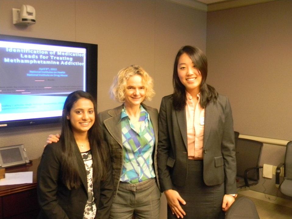 Yamini Naidu and Sarah Pak with NIDA Director Dr. Nora Volkow