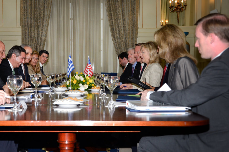 Secretary Clinton Meets With Greek Foreign Minister Lambrinidis