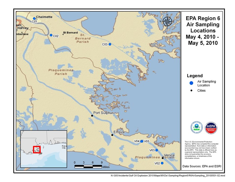 EPA Air Sampling Locations May 4-5, 2010