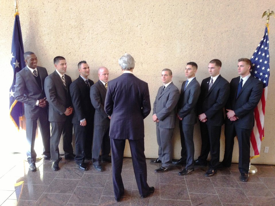 Secretary Kerry Speaks With Marine Security Guards
