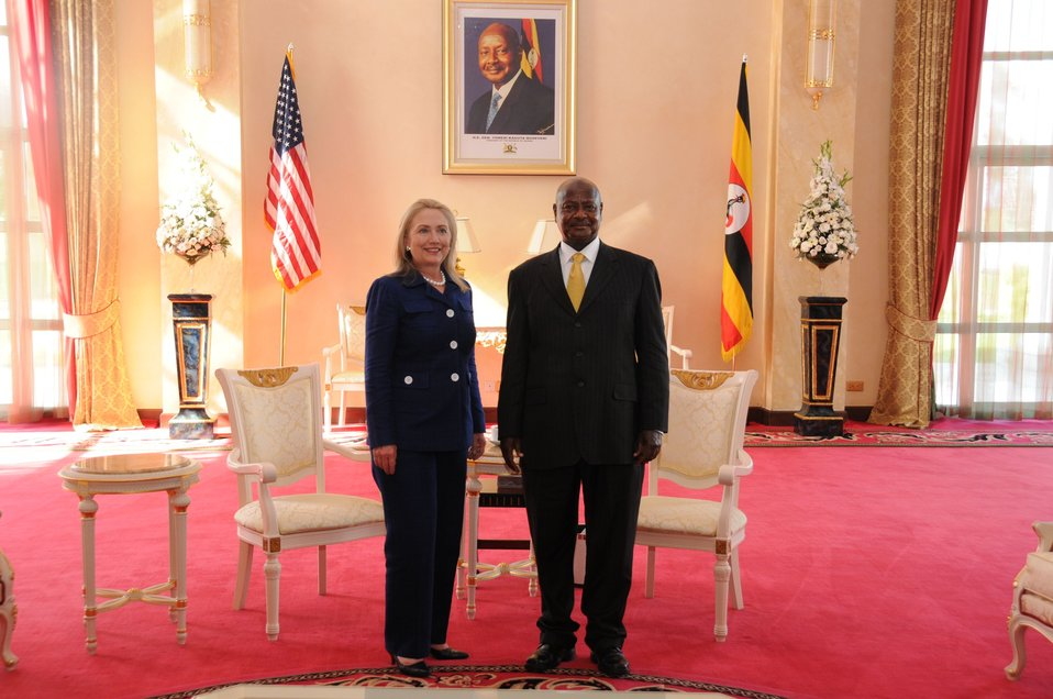 Secretary Clinton Poses With Ugandan President Museveni