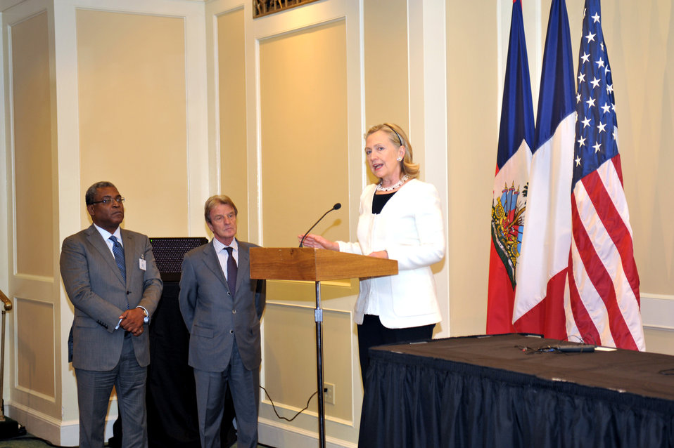 Secretary Clinton Delivers Remarks on Haiti Reconstruction