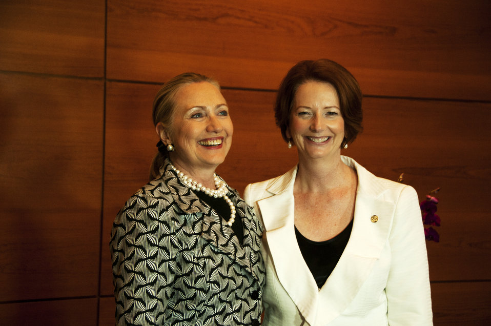 Secretary Clinton Poses for a Photo With Australian Prime Minister Gillard