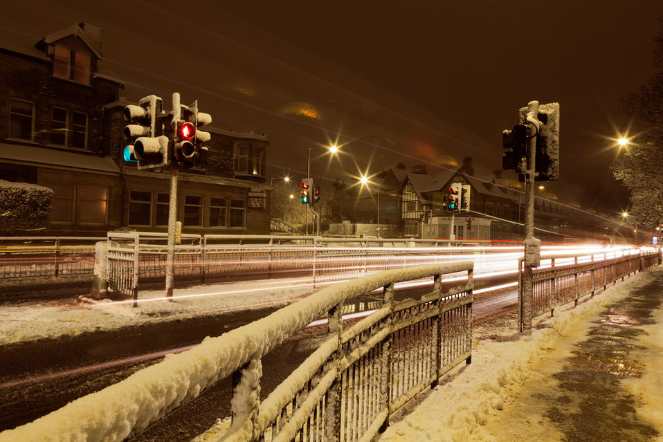 Traffic at night in winter