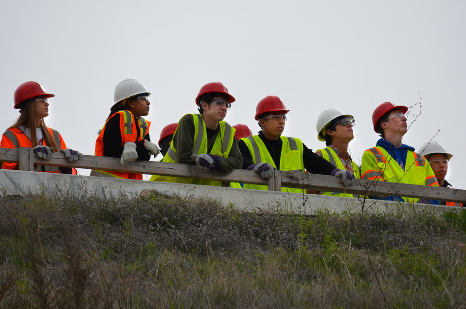 Students tour Folsom Dam auxiliary spillway construction during Engineer Week