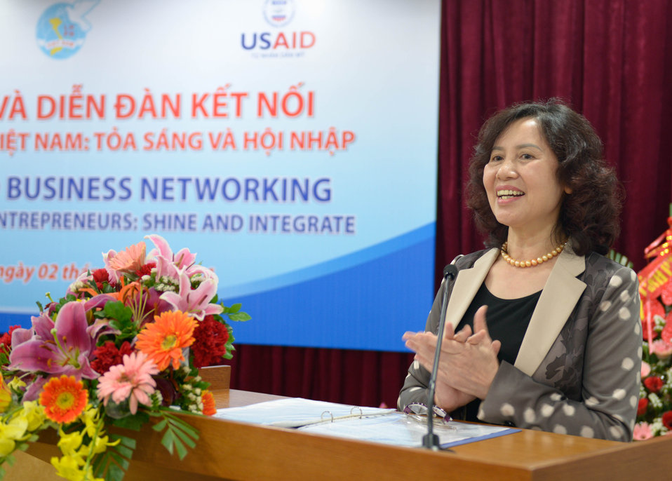 Vietnam Women's Union Vice President, Nguyen Thi Kim Thuy speaks at the seminar for female entrepreneurs