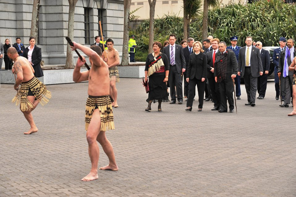 Secretary Clinton Watches a Powhiri With White-Tahuparae, Ambassador Huebner, and Albert