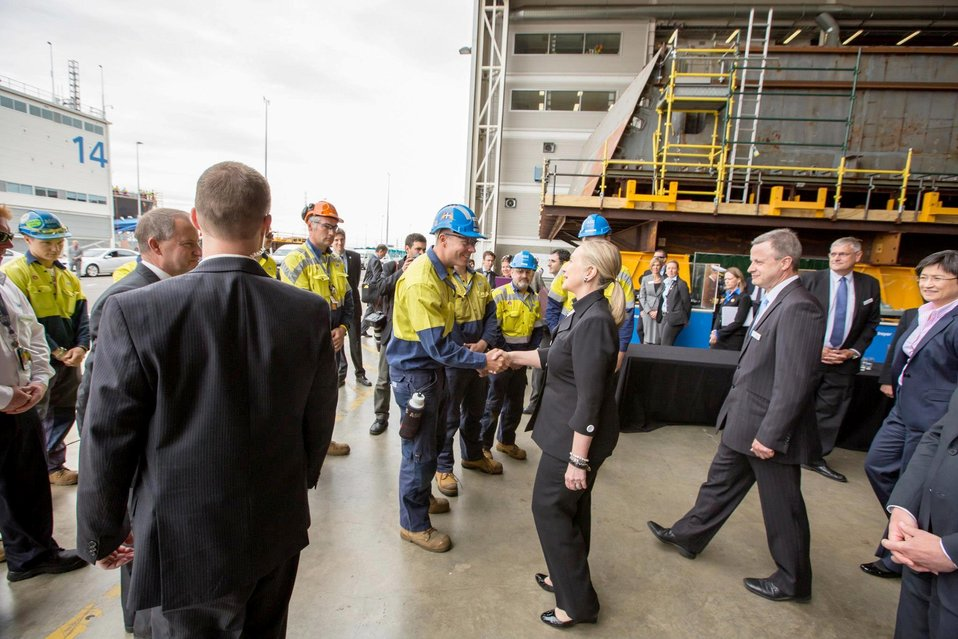 Secretary Clinton Meets With Workers from TechPort