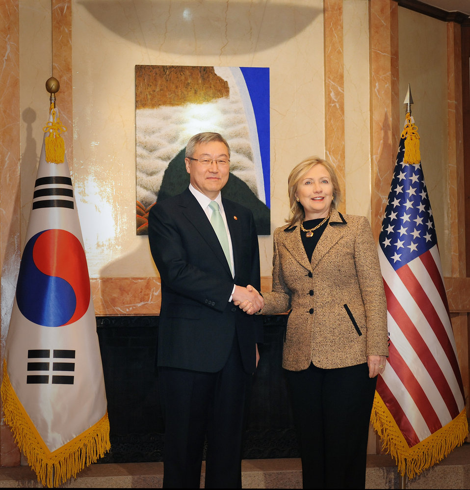 Secretary Clinton Is Greeted By Republic of Korea Foreign Minister Kim Sung-hwan