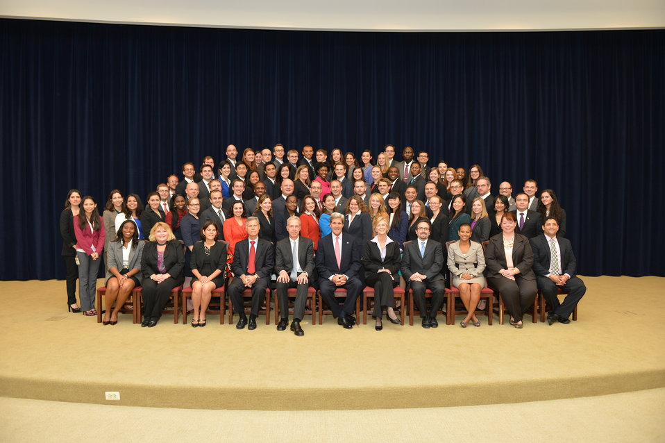 Secretary Kerry Poses for a Photo With the 174th Foreign Service Generalist Orientation Class