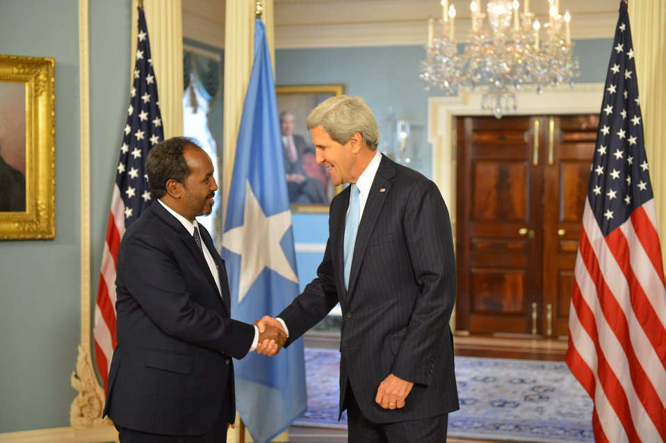 Secretary Kerry Shakes Hands With Somali President Hassan Sheikh Mohamud