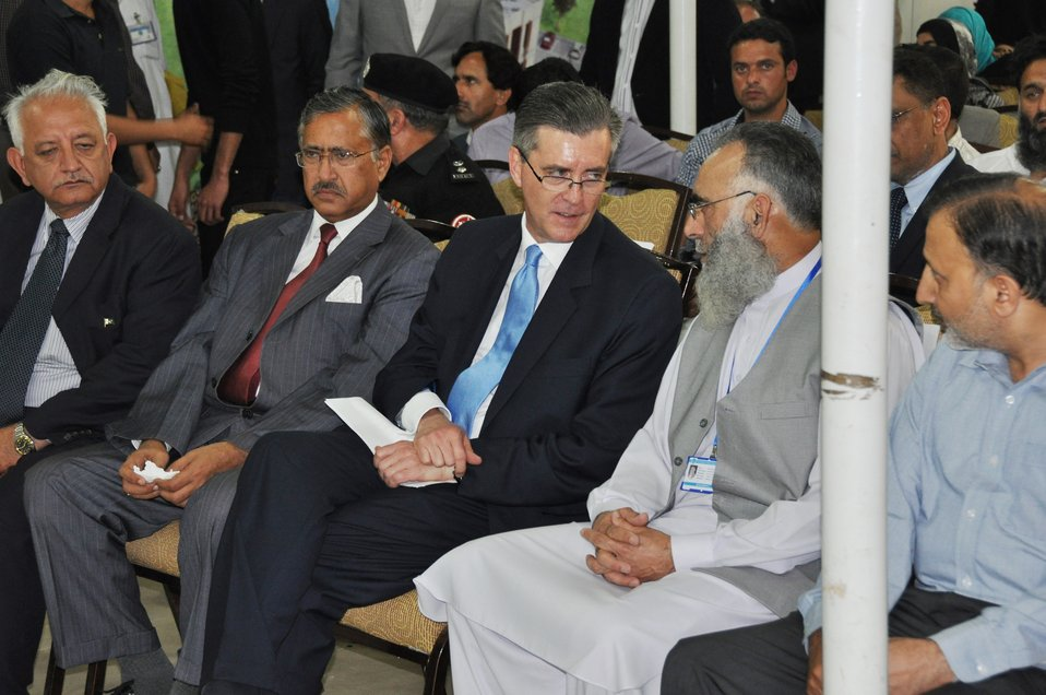 The United States Ambassador to Pakistan, Richard Olson broke ground for a U.S. funded construction of a new Faculty of Education building in Muzaffarabad, AJK.  01