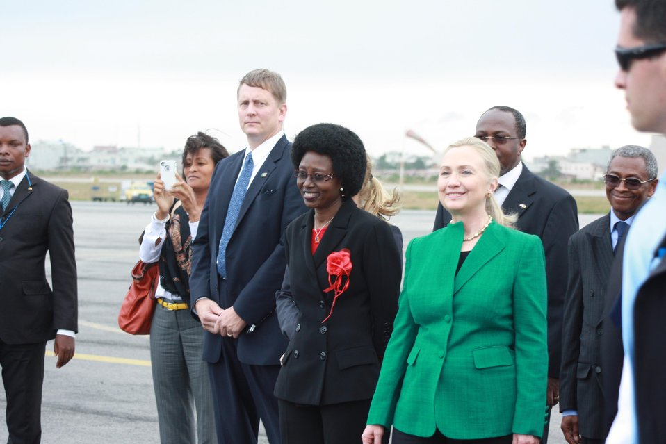 Secretary Clinton Is Greeted By Special Advisor Miriam Aladji Boni Diallo