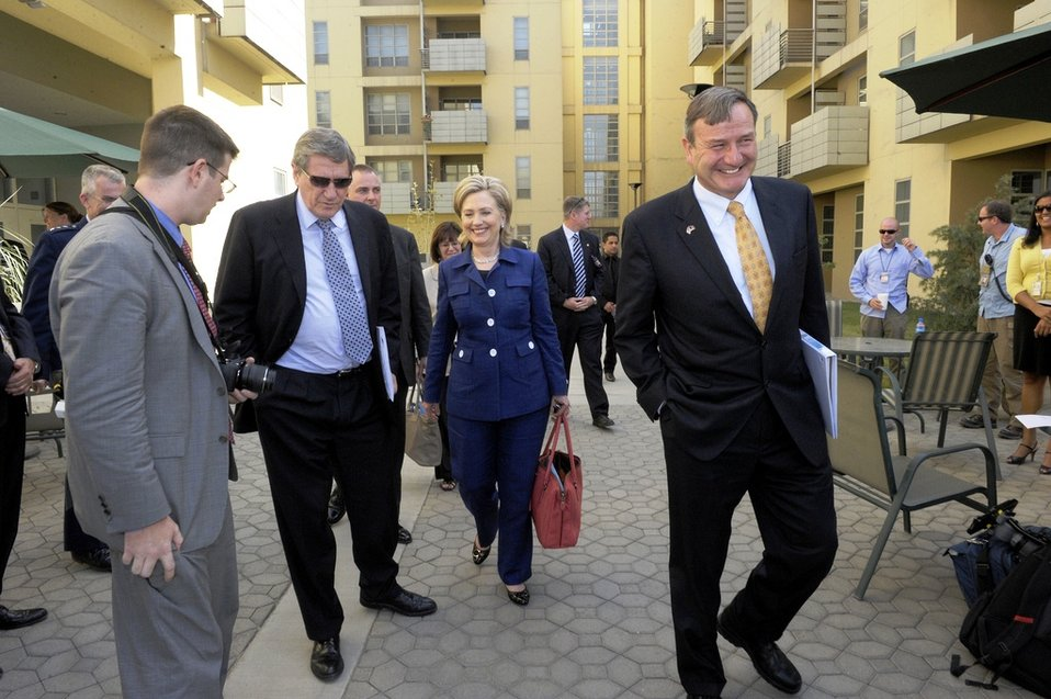 Special Representative Holbrooke, Secretary Clinton, and Ambassador Eikenberry Walk in Kabul