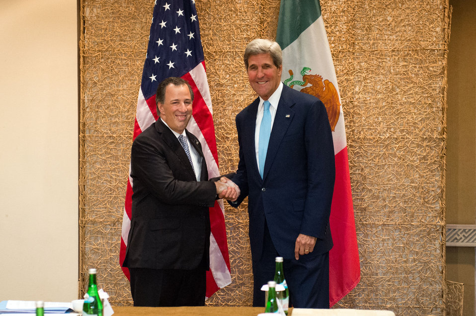 Secretary Kerry Greets Mexican Secretary of Foreign Affairs José Antonio Meade Kuribreña