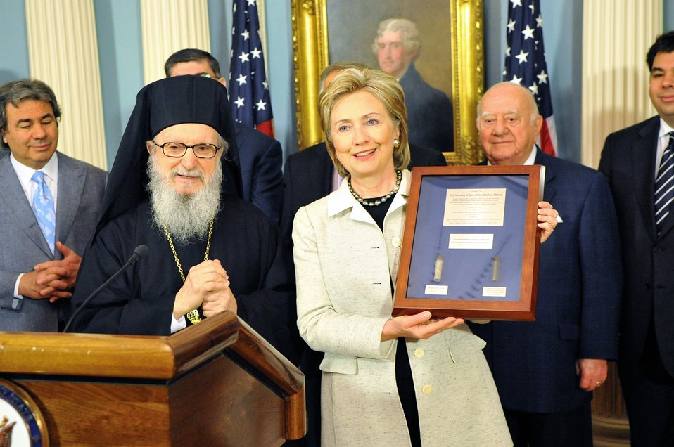 Secretary Clinton Receives National Coordinated Effort of Hellenes Award