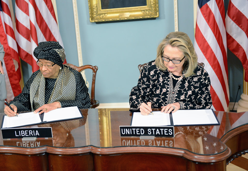 Secretary Clinton Holds a Signing Ceremony With Liberian President Sirleaf