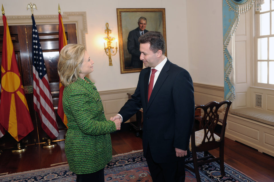 Secretary Clinton Shakes Hands With Macedonian Prime Minister Gruevski