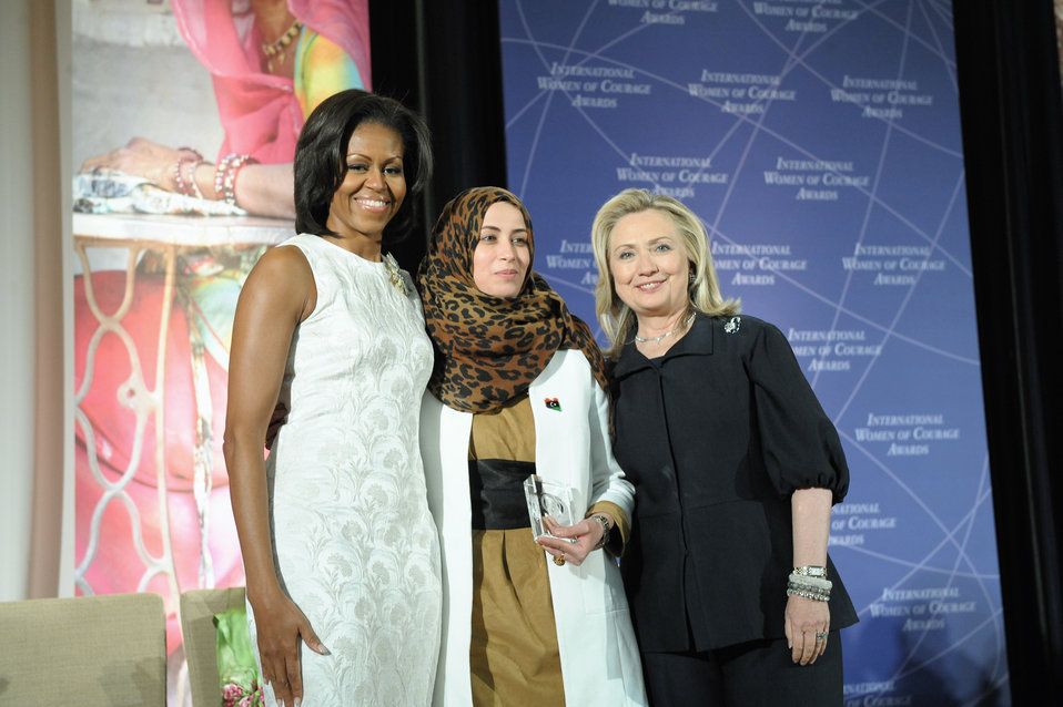 Secretary Clinton and First Lady Obama With 2012 IWOC Award Winner Hana El Hebshi of Libya