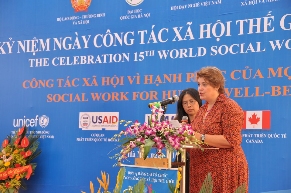 Ms. Lotta Sylwander, Representative, UNICEF Vietnam, speaks at the Social Work Day event in Hanoi