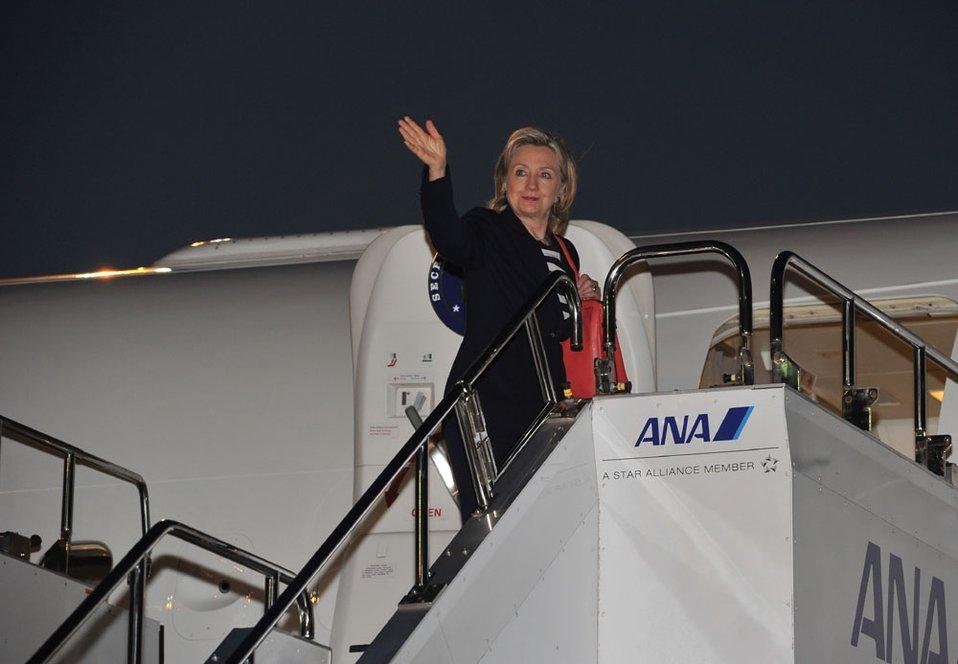 Secretary Clinton Departs Tokyo
