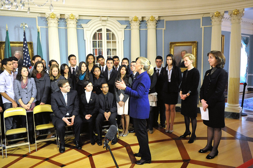 Secretary Clinton Meets With Brazilian Youth