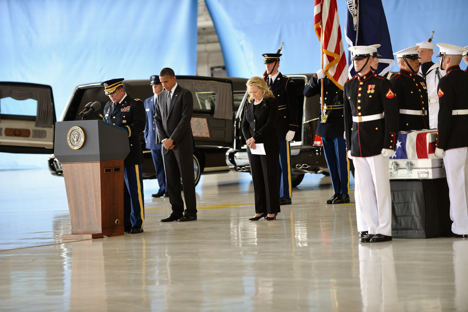 President Obama and Secretary Clinton at the Transfer of Remains Ceremony to Honor Those Lost in Attacks in Libya