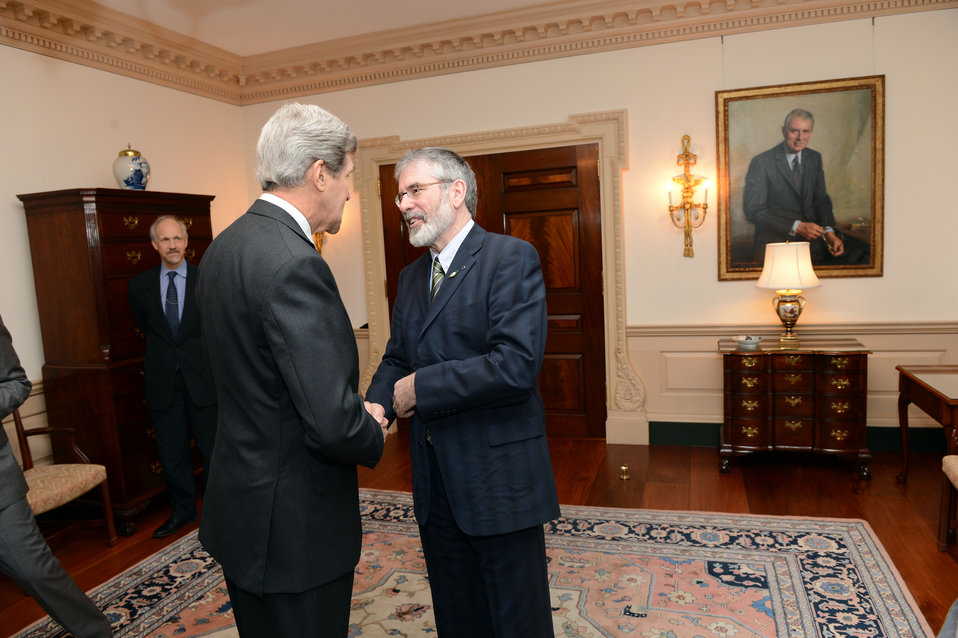 Secretary Kerry Meets With Sinn Fein President Adams