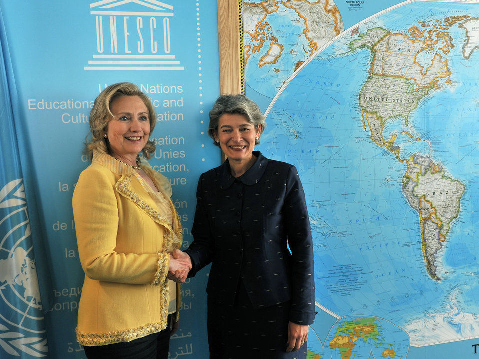 Secretary Clinton and UNESCO Director-General Bokova Shake Hands