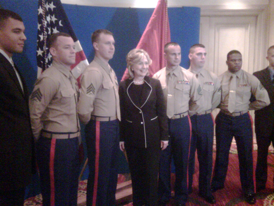 Secretary Clinton With Marines at the U.S. Embassy in Costa Rica