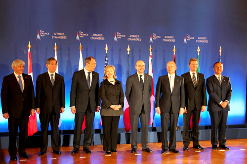Secretary Clinton With Foreign Ministers of the G8 Pose for a Photo