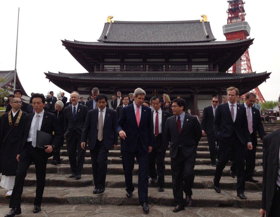 Secretary Kerry Walks Down Steps of Zojoji Shrine