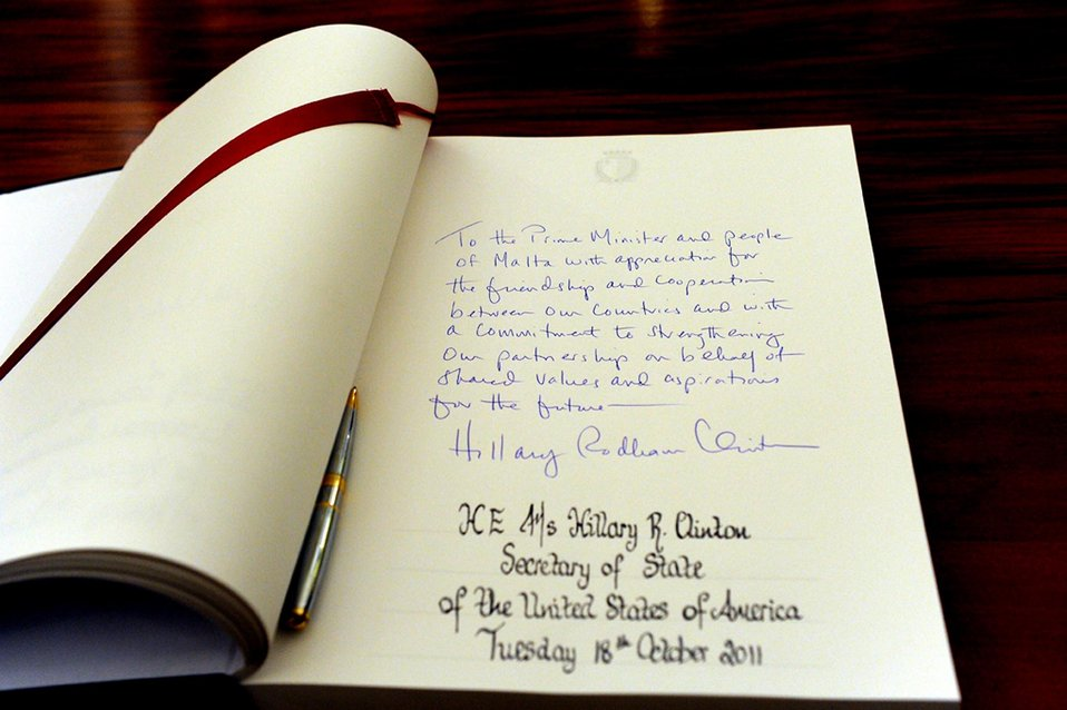 Secretary Clinton's Note in the Visitors' Book Is Photographed
