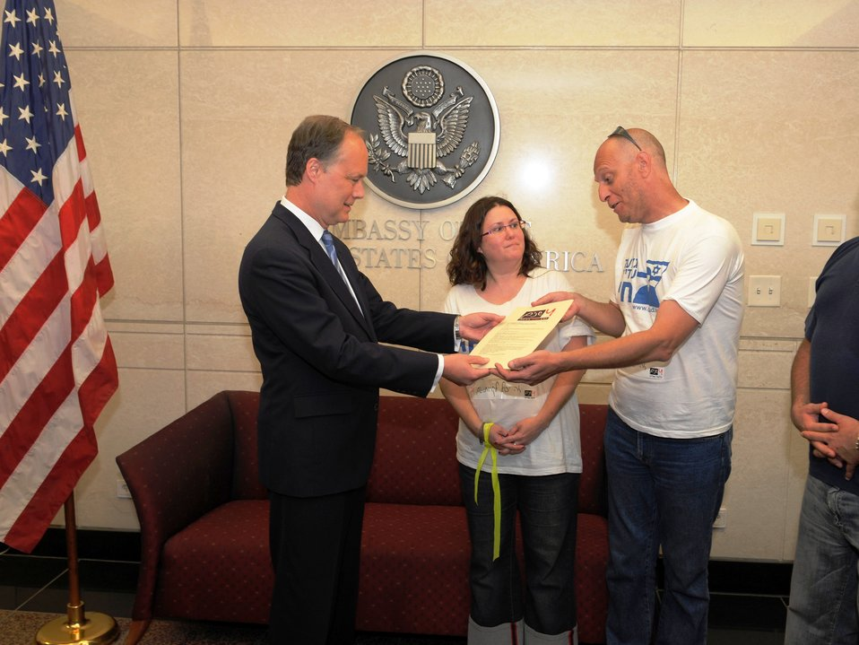 Ambassador Cunningham Receives Letter From Civil Drafting Chamber Representatives for Gilad Shalit