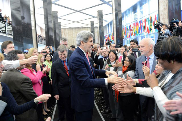 Secretary Kerry Shakes Hands With Employees