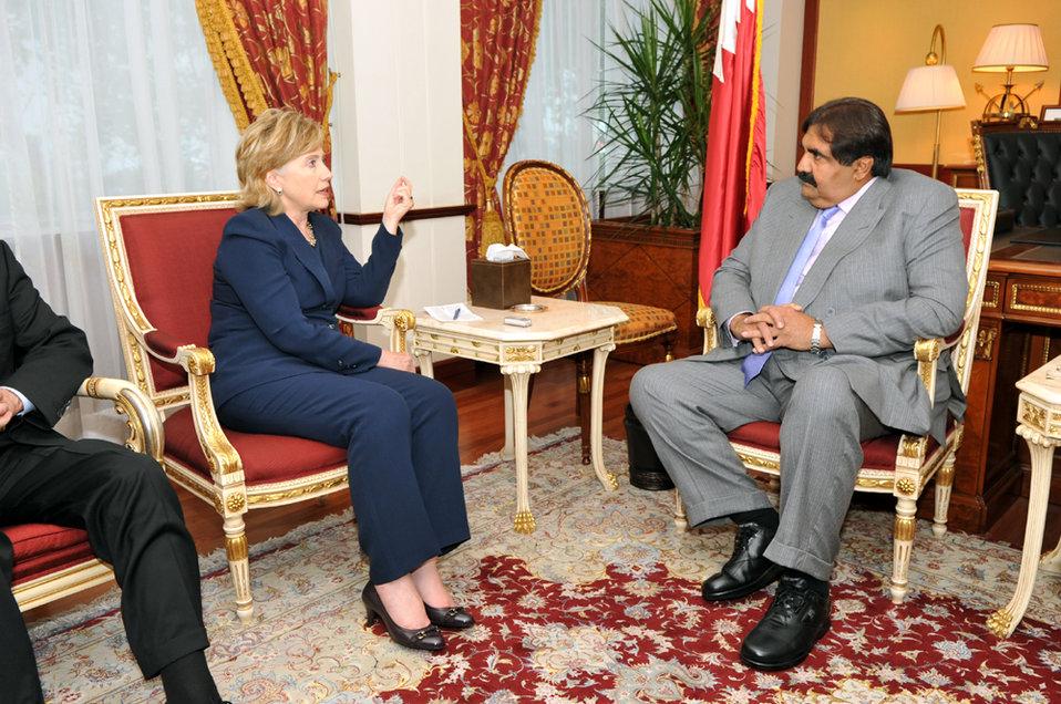 UNGA 2009: Secretary Clinton Meets With Qatar Amir Sheikh
