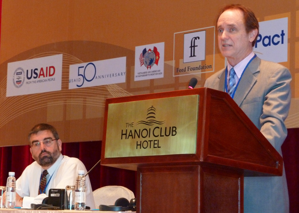 USAID Mission Director Francis Donovan addresses a conference on gender and HIV in Hanoi.