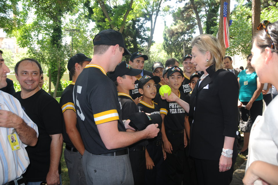 Secretary Clinton Speaks With an Azerbaijani Youth Softball Team