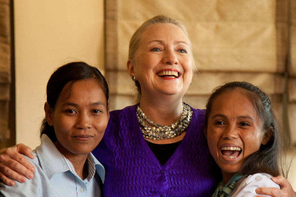 Secretary Clinton With Young Women at the Labor Roundtable
