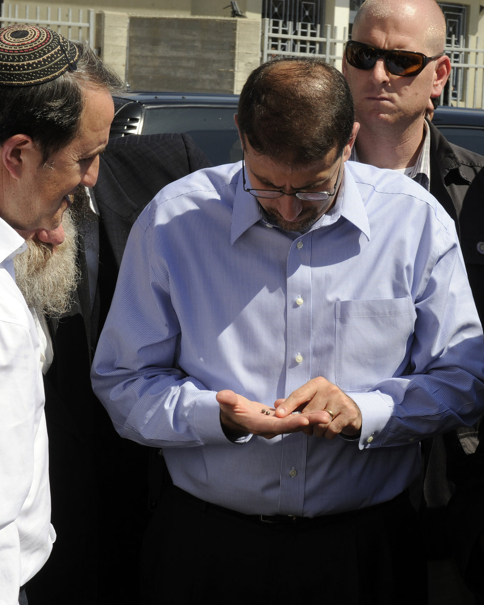 Ambassador Shapiro Tours the Jewish Seminary Where Two Grad Missiles Exploded and Wounded People