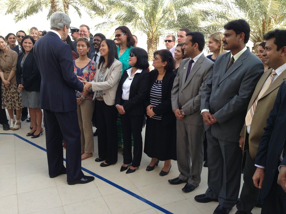 Secretary Shakes Hands With Embassy Doha Staff