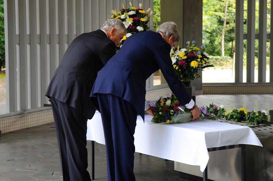Secretary of State Kerry and Defense Secretary Hagel at at the Chidorigafuchi National Cemetery in Tokyo