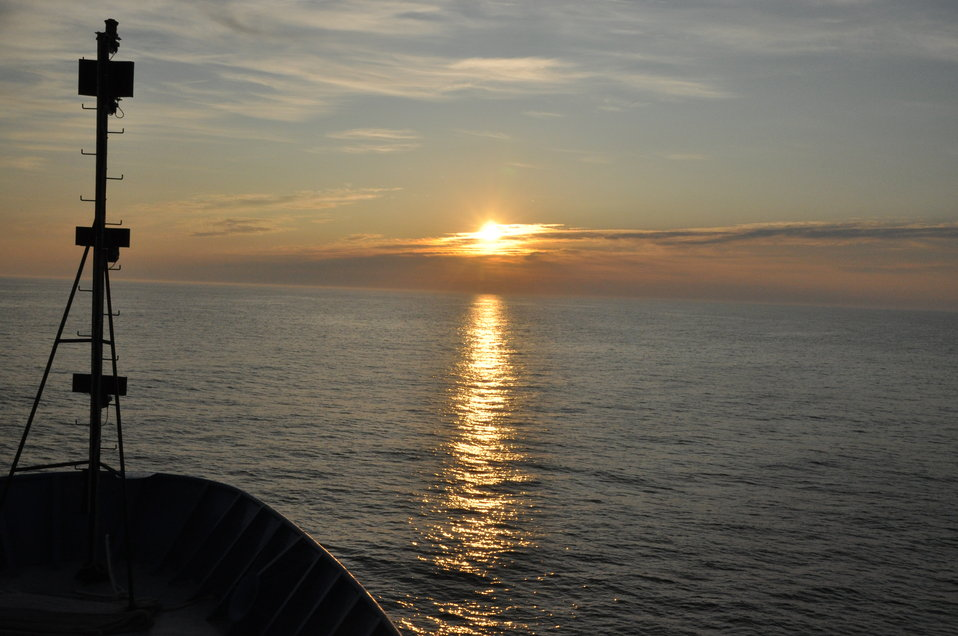 July 2009, Watching the sun rise and set from the bow of the ship... breathtaking.