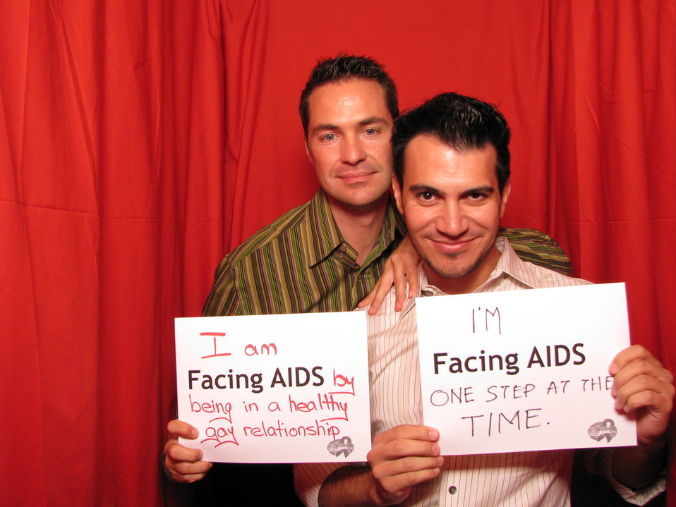 I am FACING AIDS by being in a healthy gay relationship. I'm FACING AIDS one step at a time.