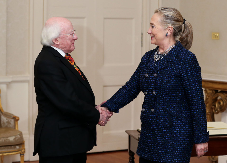 Secretary Clinton Meets With Irish President Higgins